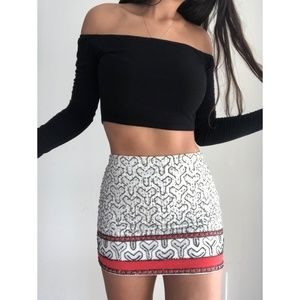 Zara Sequined Beaded Mini skirt M